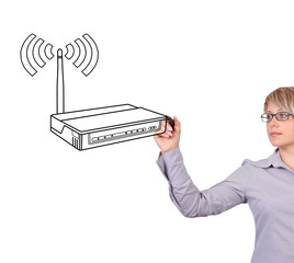 woman drawing router