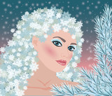 Winter girl seasons card, vector illustration - 48020707
