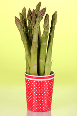 Fresh asparagus in colorful pot on green background
