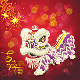Vector chinese new year lion dance with sparkling firecrackers