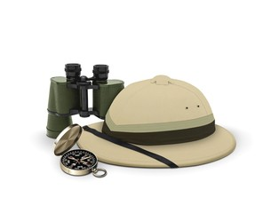 explorer hat and equipment