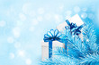 Holiday blue background with gift boxes and tree branches. Vecto