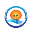 Tropical island with palms, sun and waves logo