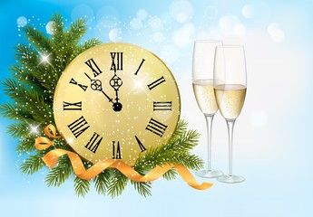 Holiday blue background with champagne glasses and clock . Vecto