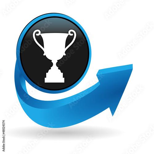 trophée sur bouton flêche bleue