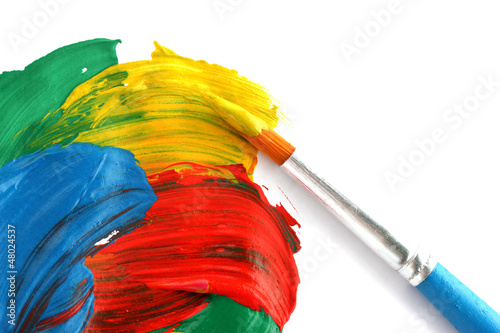 Abstract gouache paint and brush, isolated on white