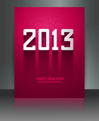 2013 new year celebration colorful brochure reflection vector