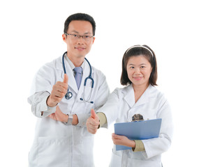 asian doctors giving thumbs up