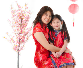 chinese new year family mother and daughter