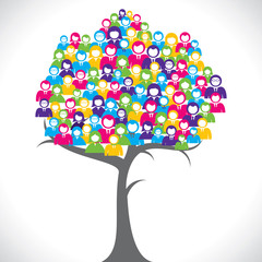 colorful businessmen and women tree