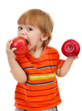 cute little boy eating apples, isolated on white