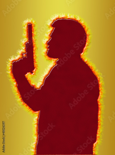 Flaming Assassin in 3D Gold Background