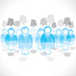 blue businesspeople background