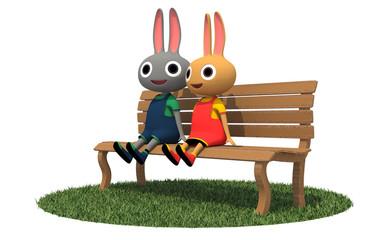 ベンチでおしゃべりするうさぎのきょうだい
