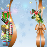 Merry Christmas background with candle, bell, gifts and candy