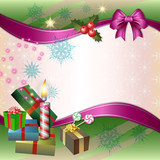 Merry Christmas background with candle, gifts and bow