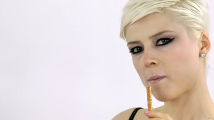 Woman eating Cracker