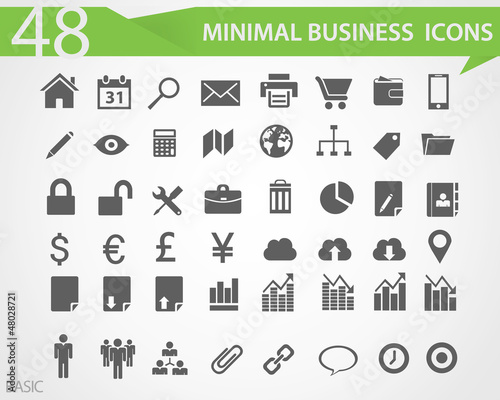 48 Minimal business vector icons
