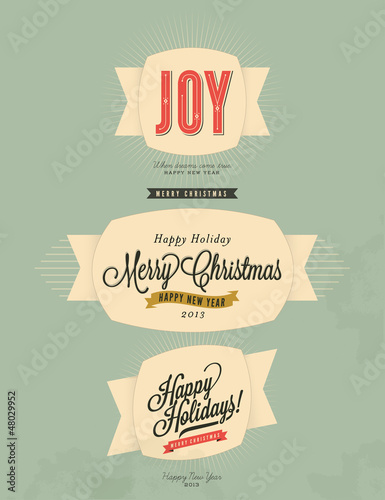 Christmas and Happy New Year label