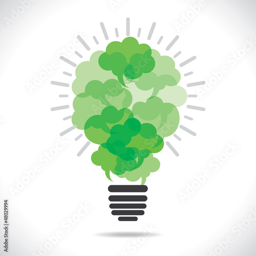 green bulb with message bubble