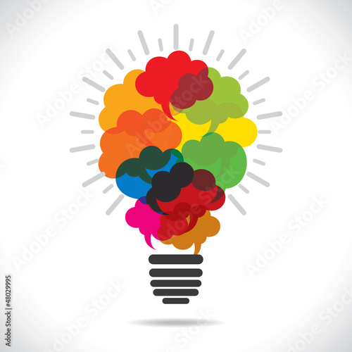 color message bubble deisgn bulb stock vector
