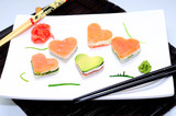 Sushi in the shape of a heart Valentine's day
