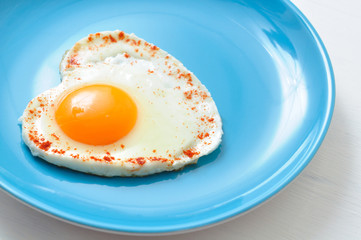 Fried egg in shape of heart