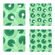 Lily in a green swamp seamless pattern