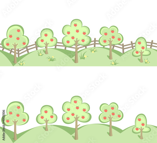 Fruit trees and a field of flowers in horizontal seamless border