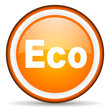 eco orange glossy icon on white background