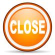 close orange glossy icon on white background