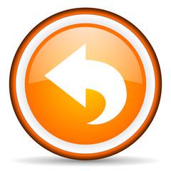back orange glossy icon on white background