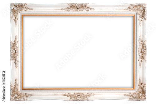 Antique photo frame on the white background