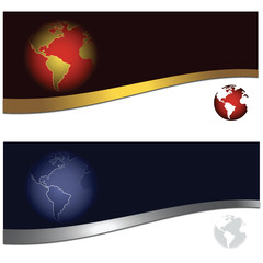 Banner With Earth in Two Color Schemes