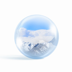 Snow mountains inside a glass ball
