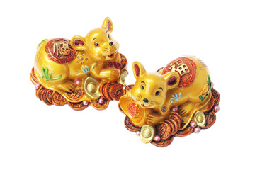 Chinese Golden Rat Ornaments