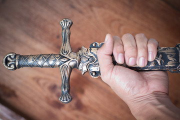 sword knight on wood texture