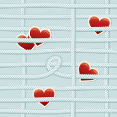 seamless rope pattern with hearts