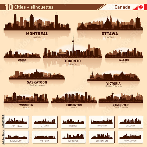 City skyline set. 10  city silhouettes of Canada #1
