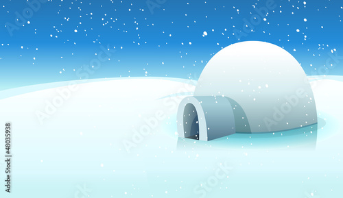 Igloo And Polar Icy Background