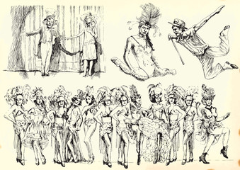 People in the theater - remembrance retro series of drawings.