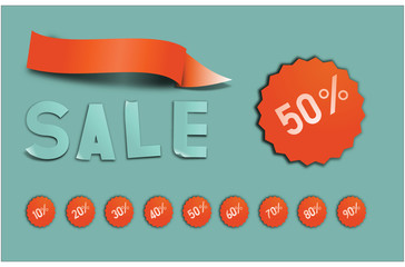 Sale Sticker Letters With Discount in Percentage