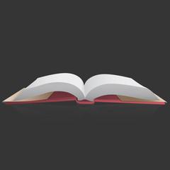 Open empty book or magazine on black background. Vector design.