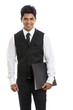 Handsome Indian young businessman with document on white.