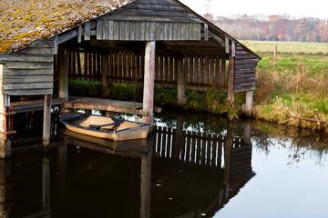 old boat in wooden fisherman hut
