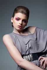 Classy Woman in Grey Dress - Evening Professional Makeup