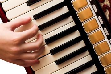 Hand playing accordion
