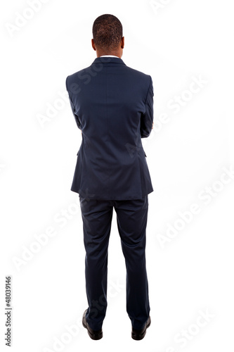 African American business man from the back over white backgroun