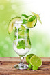 Fresh mojito drink with blur green background