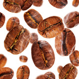 Flying coffee beans in smoke, isolated on white background
